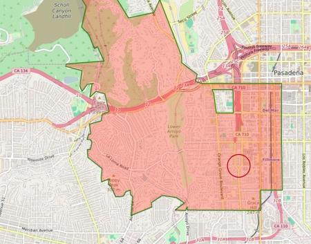 Map of Pasadena CA (91105)